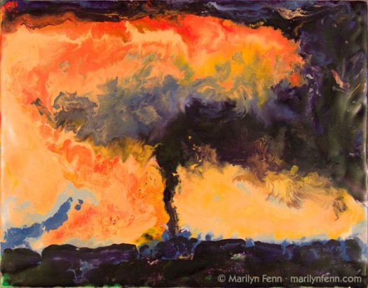 """Tornado - Ames, IA - March 30, 2006"" Encaustic on Masonite 8″ x 10″ © 2007 Marilyn Fenn"
