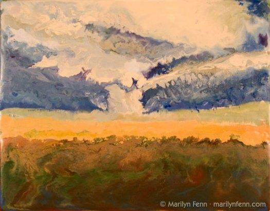 """Tornado - Erie, KS - November 27, 2005"" Encaustic on Masonite 8″ x 10″ © 2007 Marilyn Fenn"