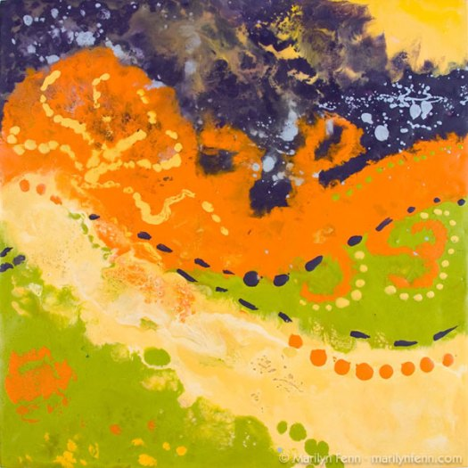 """Nebulous Nebula"" Encaustic and Beeswax on Paper on Baltic Birch 12"" x 12"" © 2007 Marilyn Fenn"