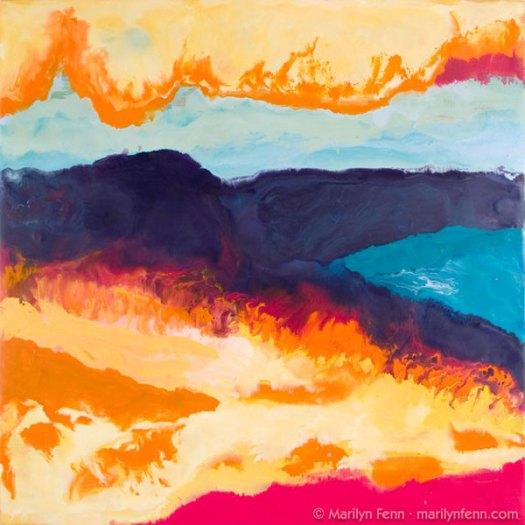 """""""California Burning"""" Encaustic on Baltic Birch 12"""" x 12"""" © 2007 Marilyn Fenn"""