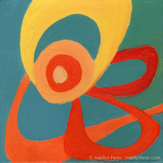 """ZOUNDS!!!"" Oil on canvas 6"" x 6"" © 2009 Marilyn Fenn"