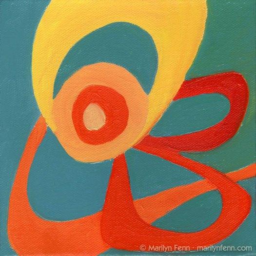 """""""ZOUNDS!!!"""" Oil on canvas 6"""" x 6"""" © 2009 Marilyn Fenn"""