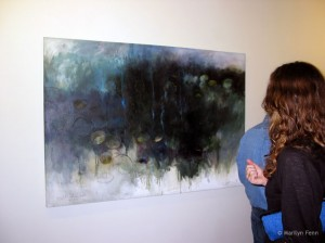 "2011-Peoples-Gallery-Exhibition-Sandy Lowder's painting ""Night Lotus Pool"""