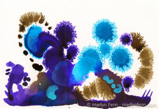 """Neptunian Cactus"" Not-So-Daily-Drawing-004 5"" x 7"" Ink on watercolor paper © 2011 Marilyn Fenn"