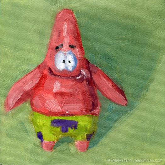 Patrick Star | Oil on canvas | 6 x 6 inches | © 2011 Marilyn Fenn
