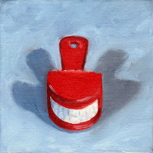 """Say Cheese"" Oil on canvas 4"" x 4"" © 2011 Marilyn Fenn"