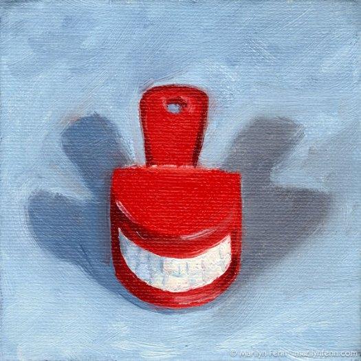 """""""Say Cheese"""" Oil on canvas 4"""" x 4"""" © 2011 Marilyn Fenn"""