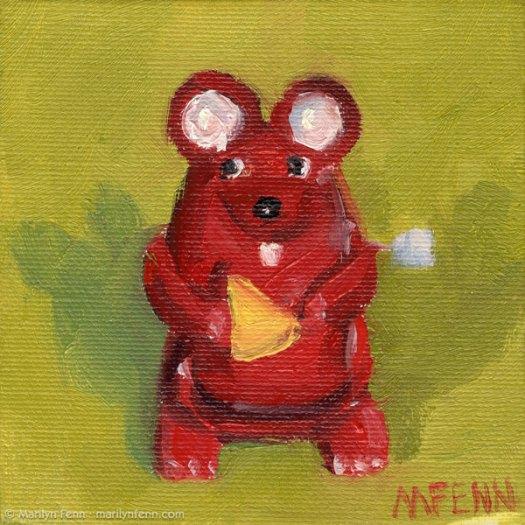"""""""Wensleydale?"""" Oil on canvas 4"""" x 4"""" copyright 2011 Marilyn Fenn"""