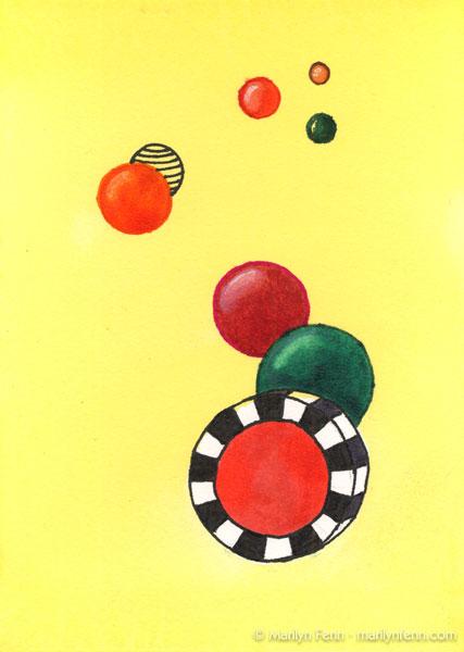 """Harmoniums 003"" Mixed media on watercolor paper 7"" x 5"" © 2011 Marilyn Fenn"