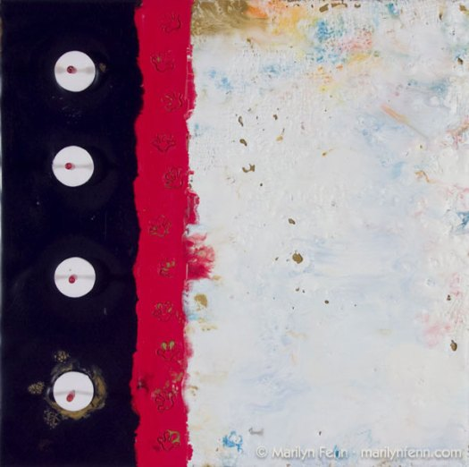 """I Want to Move It, Move It"" Encaustic and Mixed Media on Panel 10"" x 10"" © 2009 Marilyn Fenn"