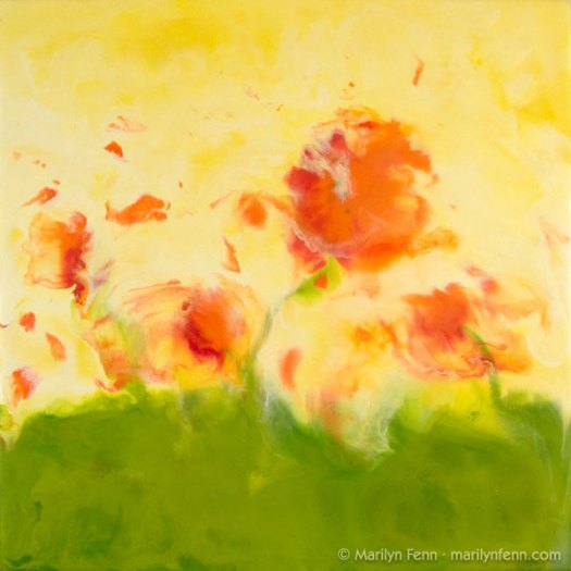 """Poppies in a Windstorm"" Encaustic and Beeswax on Paper on Board 12"" x 12"" © 2007 Marilyn Fenn"