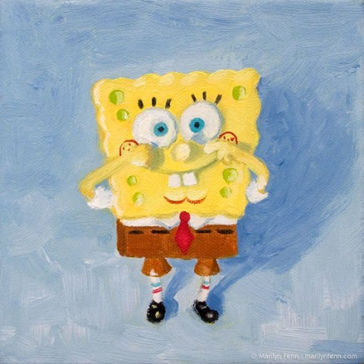 """Spongebob Squarepants"" Oil on canvas 6x6 inches © 2011 Marilyn Fenn"