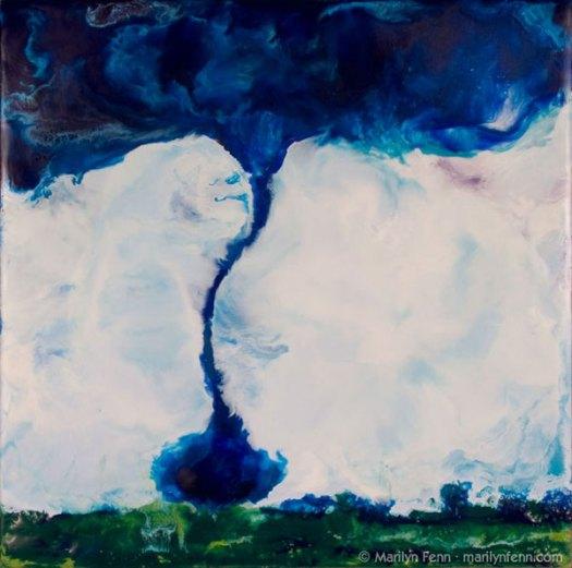 """""""Tornado Two-Step"""" Encaustic on Baltic Birch 10"""" x 10"""" x 2"""" © 2010 Marilyn Fenn"""