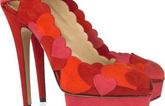 Scarpe Charlotte Olympia, rosse con i cuori