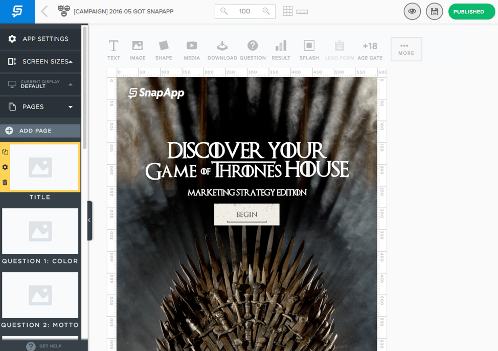 interactive content based on Game of Thrones