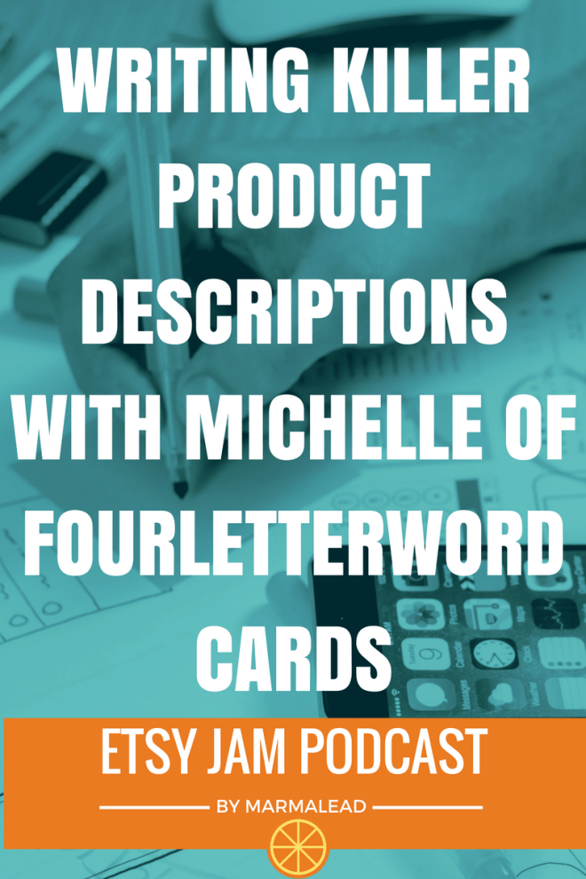 Welcome to episode 9 of Etsy Jam. In this episode we talk with Michelle from FourLetterWordCards about all kinds of Etsy stuff. She shares how she got started, write descriptions for her products, keep shipping costs down, perfects her photos and loads more.