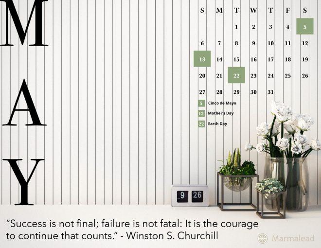 May 2018 Desktop Calendar Marmalead