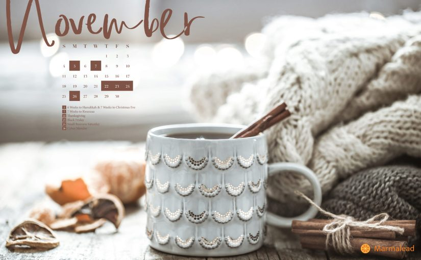 November 2018 Free Desktop Calendar from Marmalead
