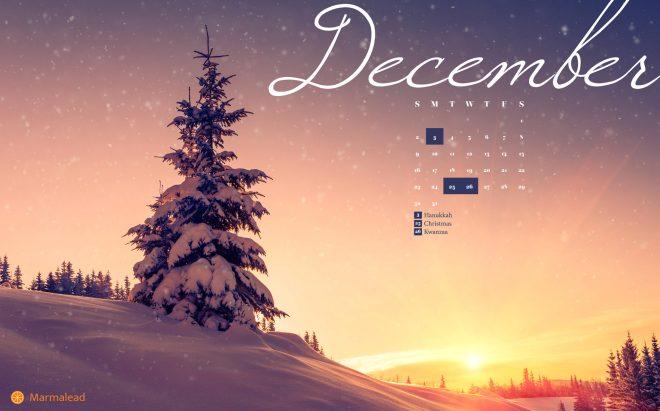 December 2018 free desktop calendar Marmalead