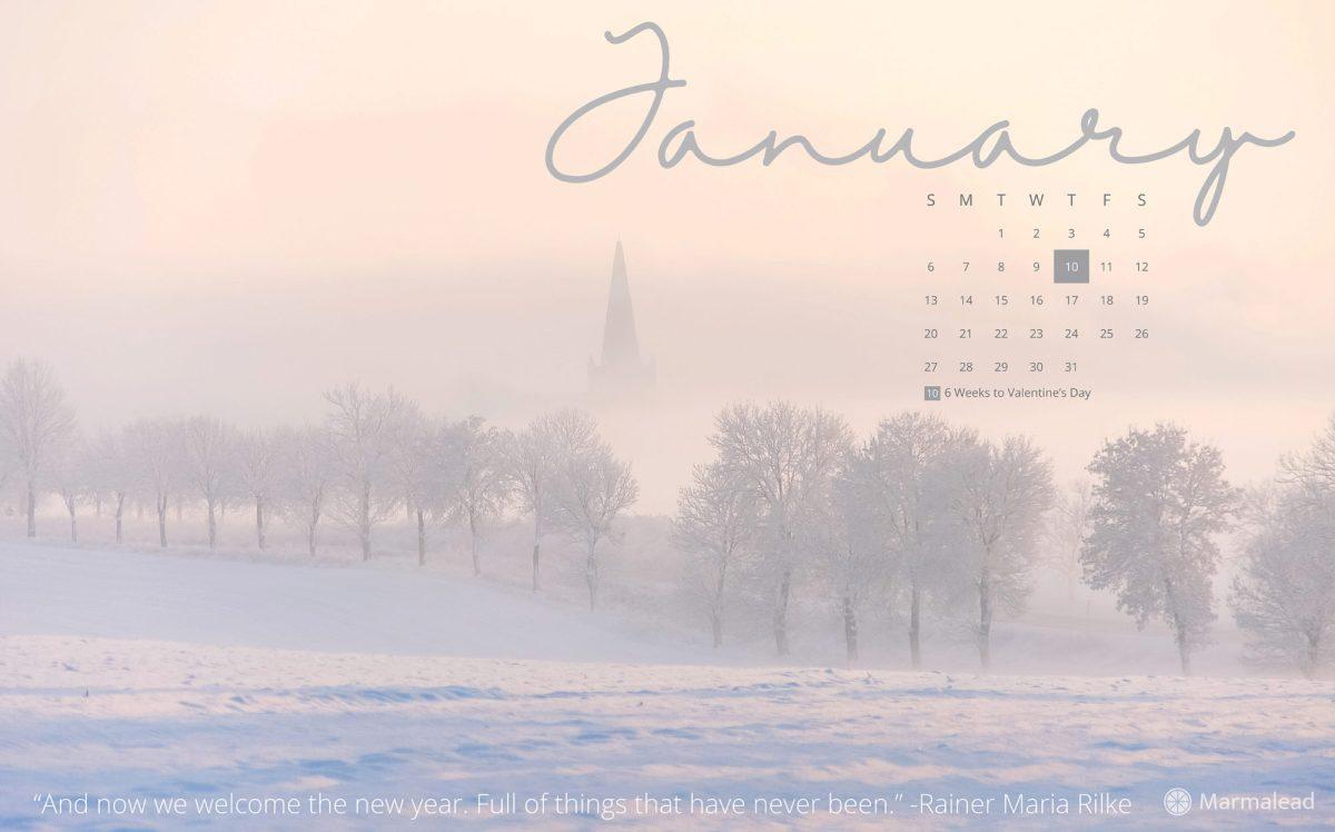 January 2019 free desktop calendar from Marmalead