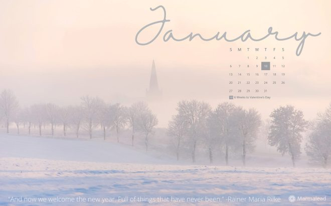 January 2019 free desktop calendar from Marmalead