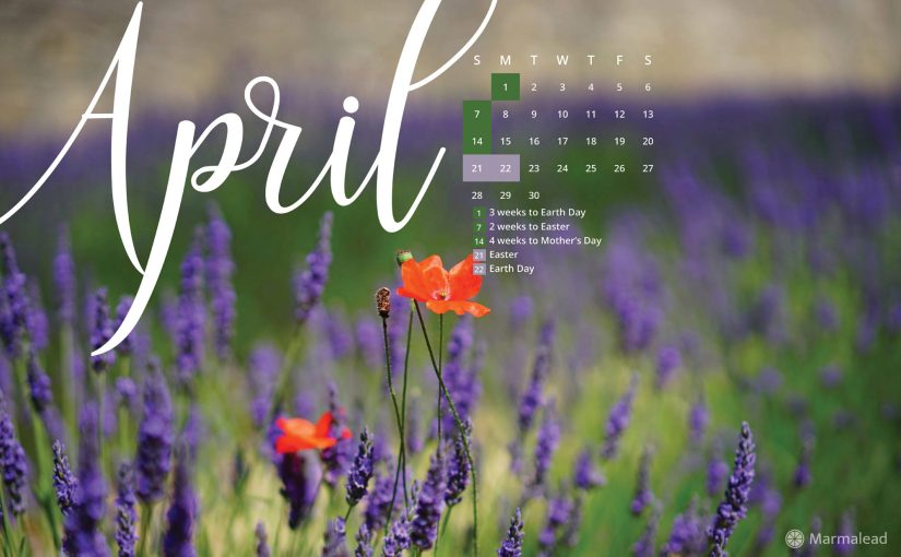 April 2019 Free Desktop Calendar/Wallpaper