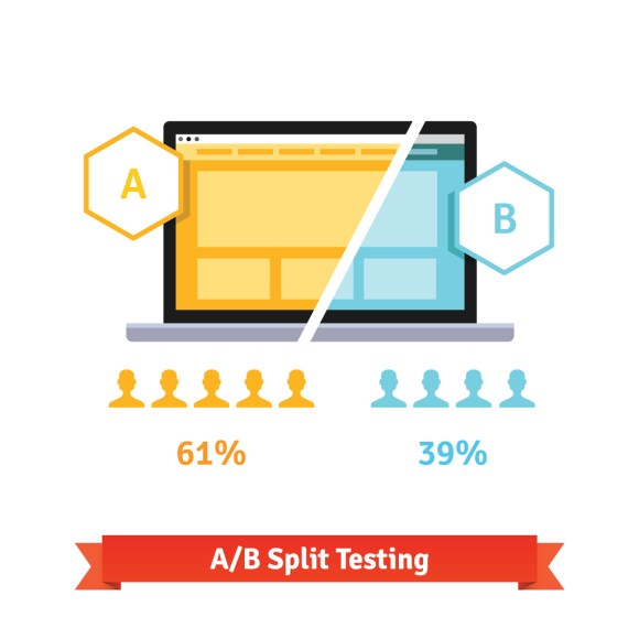 A/B split testing showing two separate images and their performance