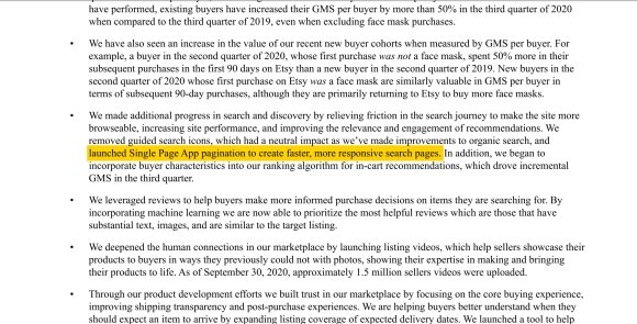 Excerpt from Etsy earnings press release