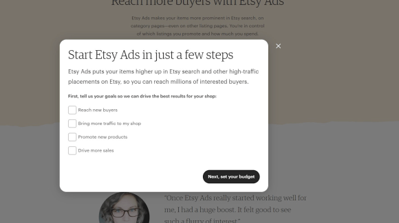 Start Etsy ads in just a few steps