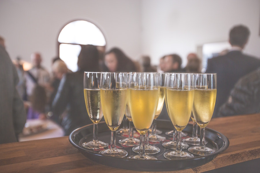 Champagne glasses at a party