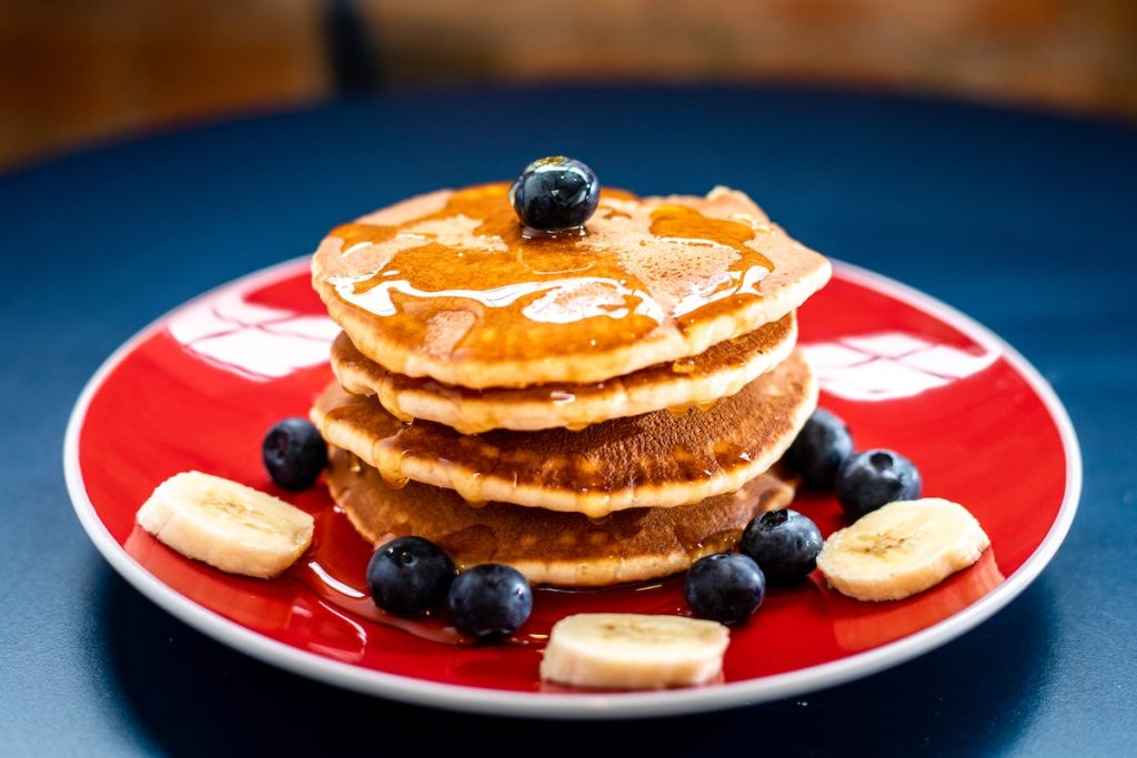 Stack of takeout pancakes