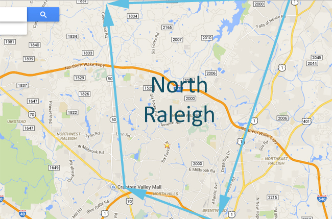 General outline of North Raleigh