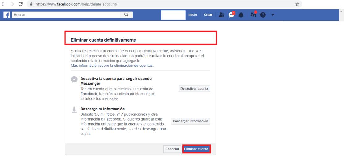 Opción para desactivar cuenta de Facebook para siempre.