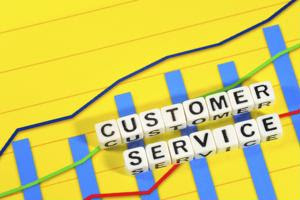 """A graph and the words """"customer service."""""""