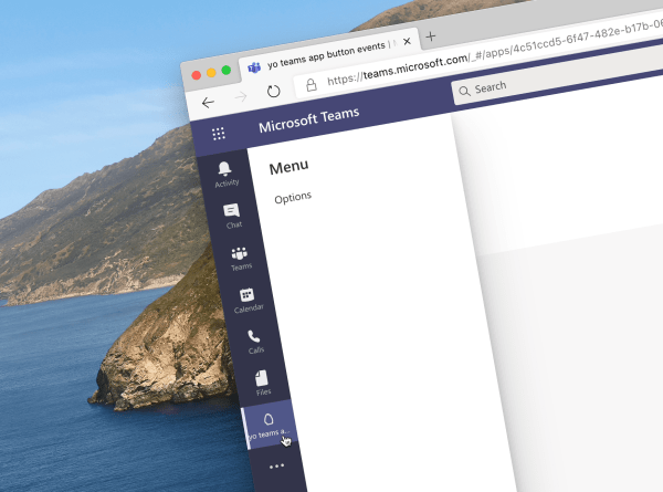 Handle app button events in Microsoft Teams tabs