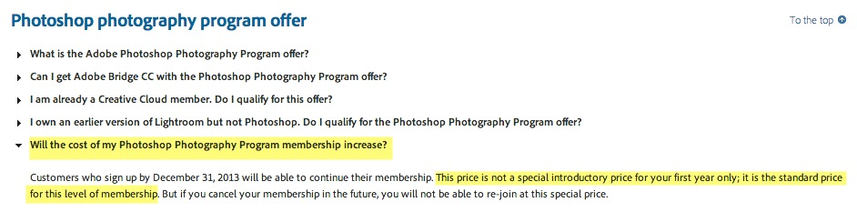 Ok Adobe I am now led to believe $9.99 is the price I will pay as long as I maintain my membership.