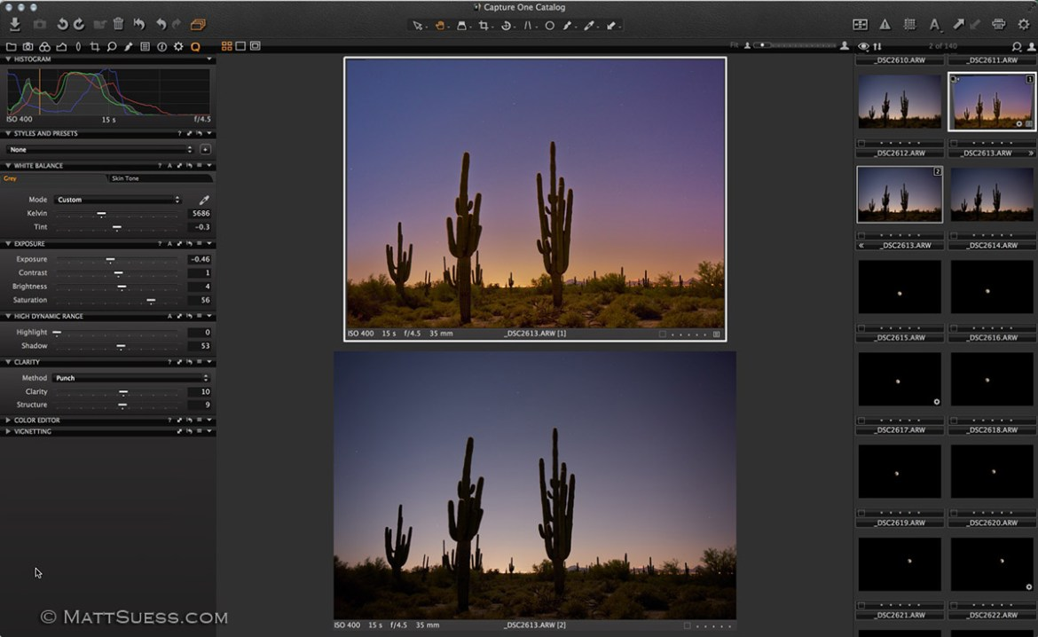 Looking at a before and after photo of the enhancements made in Capture One Pro.