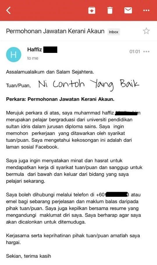cara email resume in english