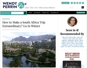 Wendy Perrin's blog showcases interesting places and smart ways to get there.