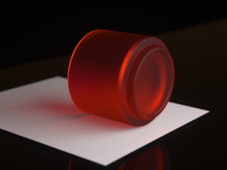 Figure 3: A test render showing frosted red glassware.