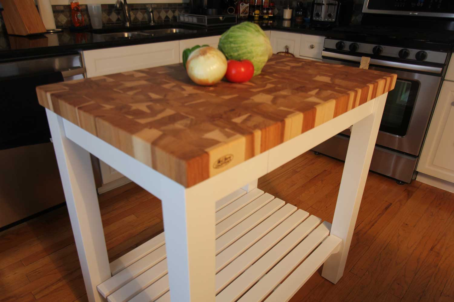butcher block kitchen island cart armstrong cabinets butcherblock-end-grain-hickory-butcher-block-top-island ...