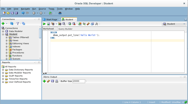 How to enable DBMS_OUTPUT display in SQL Developer
