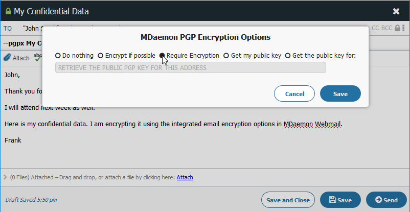 Cifrado de correo electrónico a través de la ventana de redacción de mensajes en MDaemon Webmail