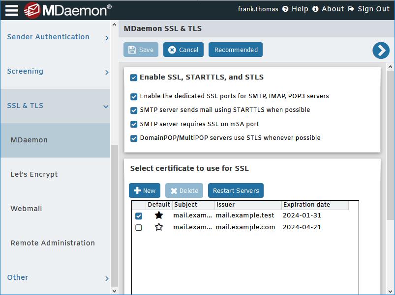 Configuración de SSL y TLS para el servidor de correo electrónico MDaemon