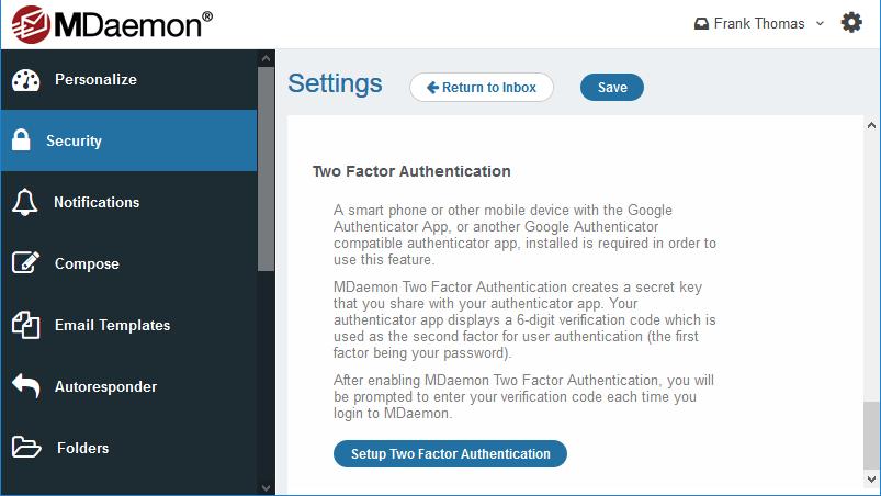 Autenticación de dos factores en MDaemon Webmail