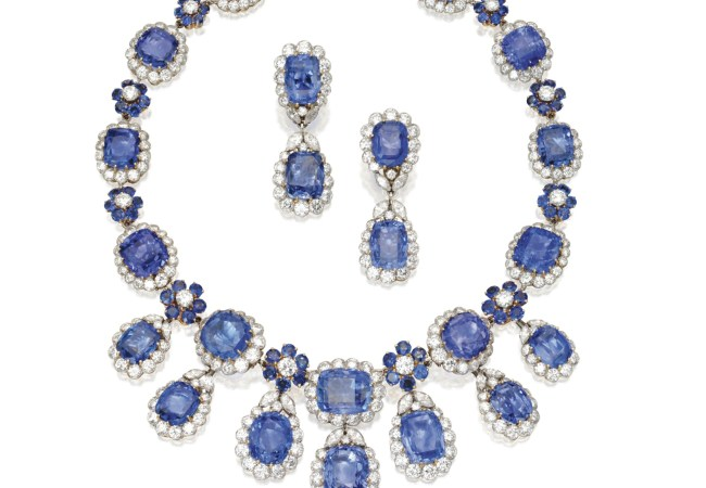 Sapphire and Diamond Necklace and Earclips by Van Cleef  Arpels, c. 1960, from the estate of Augusta Smith. Sold for € 314,588 at Sotheby's New York