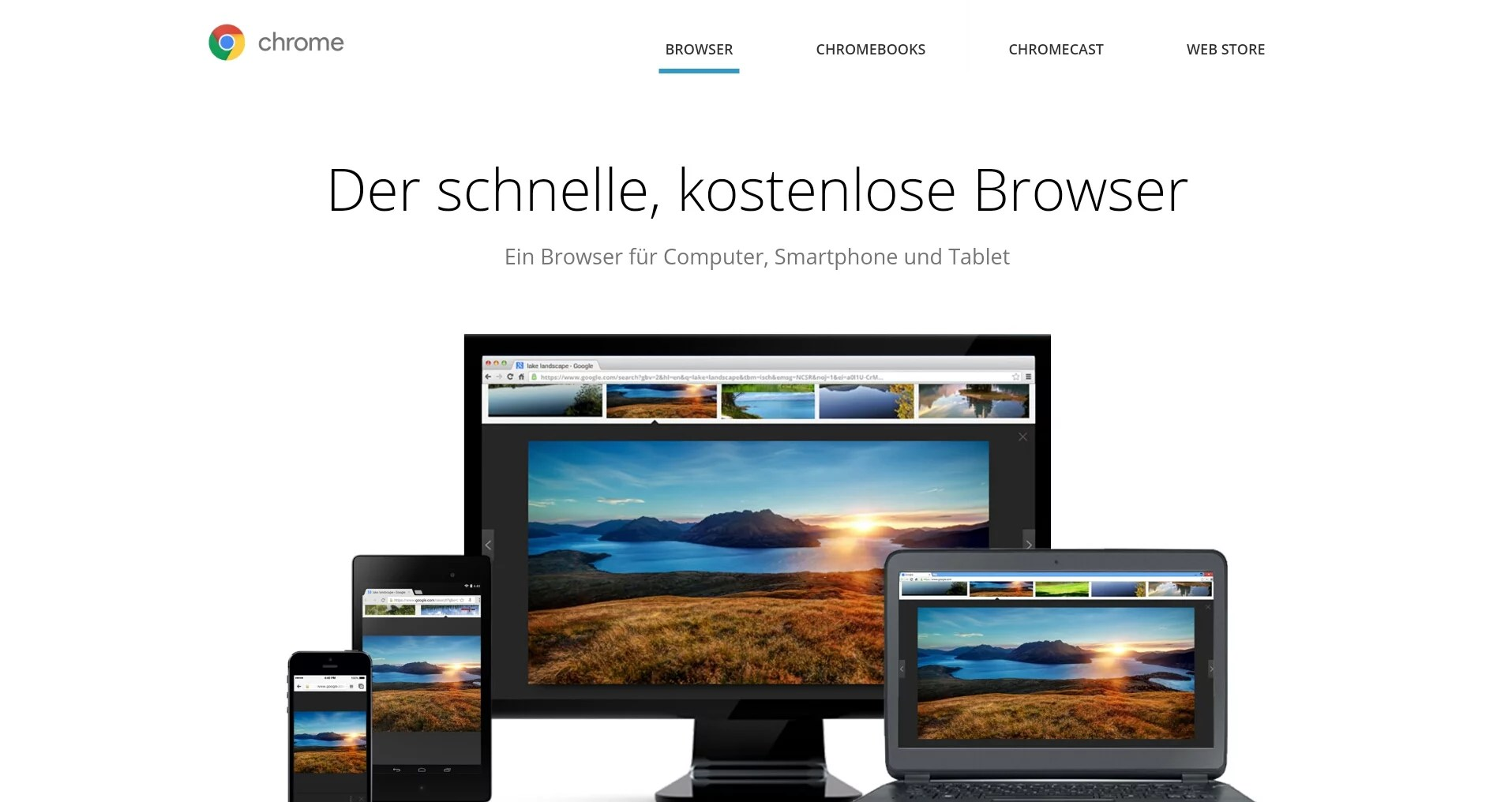 Chrome-Download-Seite im Screenshot