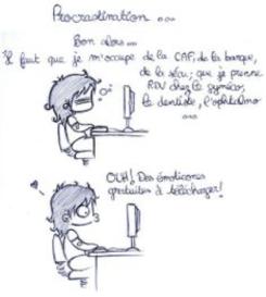 """BD sur la procrastination : """"il faut que je m'occupe de la CAF... Ohh des imoticones gratuites à télécharger"""""""