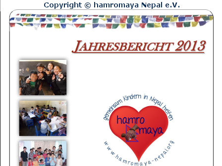Jahresbericht 2013 – hamromaya Nepal e.V.