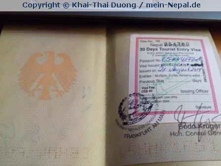 Visum für Nepal beantragt